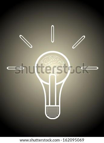 Light bulb with brain vector icon, idea concept - stock photo