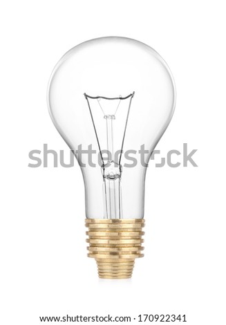 Light bulb with coins on white background - stock photo