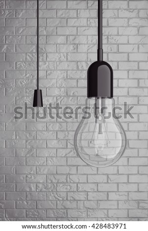 Light Bulb with Cord  Switch in front of Brick Wall. 3d Rendering - stock photo