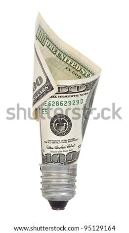 Light bulb with dollar - stock photo