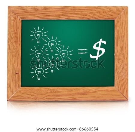 light bulb with dollar sign drawn on a green blackboard. isolated over white With Save path for Change the background