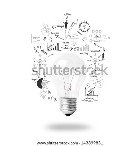 Light bulb with drawing business plan strategy concept idea, isolated on white background - stock photo