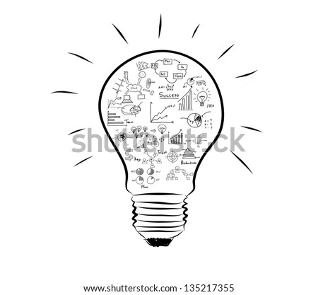 Light bulb with drawing graph inside - stock photo