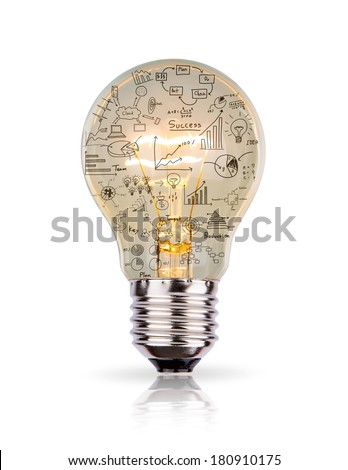 Light bulb with drawing graph inside isolated on white background - stock photo
