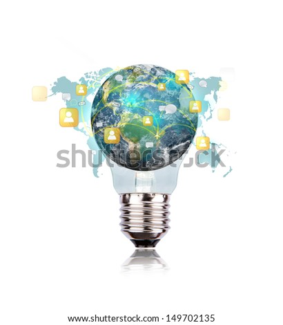Light Bulb with earth of social network (Elements of this image furnished by NASA) - stock photo