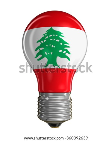 Light bulb with flag of Lebanon.  Image with clipping path - stock photo