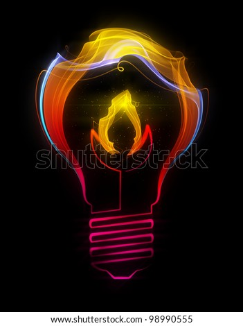 Light bulb with flame made up of abstract energy