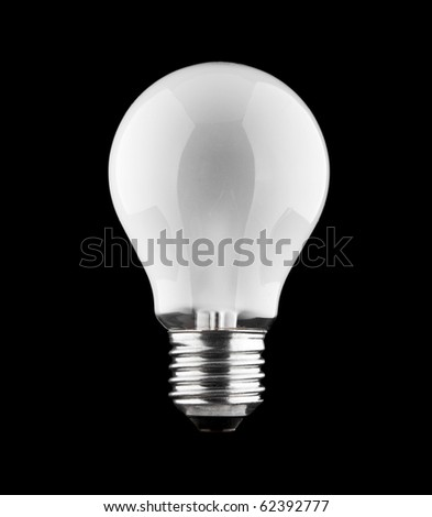 Light bulb with frosted glass isolated on black