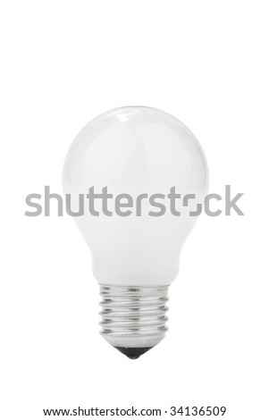 Light bulb with frosted glass isolated on white