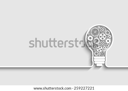 light bulb with gears and cogs working together background for your design - stock photo
