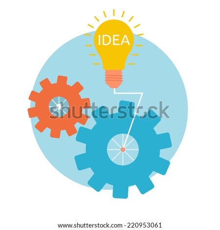 Light bulb with gears and cogs working together concept in flat design style. Raster version