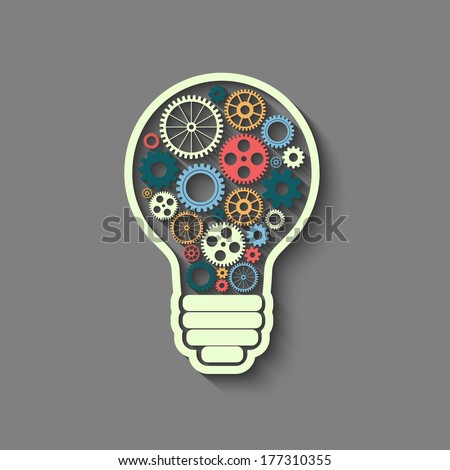 light bulb with gears and cogs working together, teamwork concept, retro style - stock photo