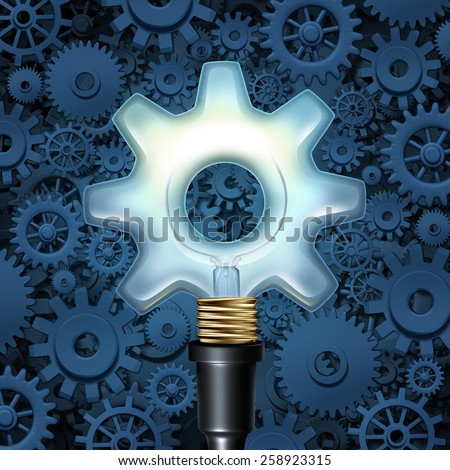 Light bulb with gears business concept as a light shaped as a cog wheel with machine parts in the background as a symbol of industry imagination and innovation. - stock photo
