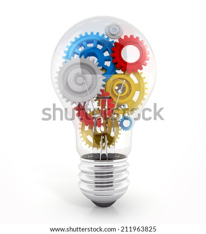 light bulb with gears in it. concept of process. 3d illustration isolated on white  - stock photo