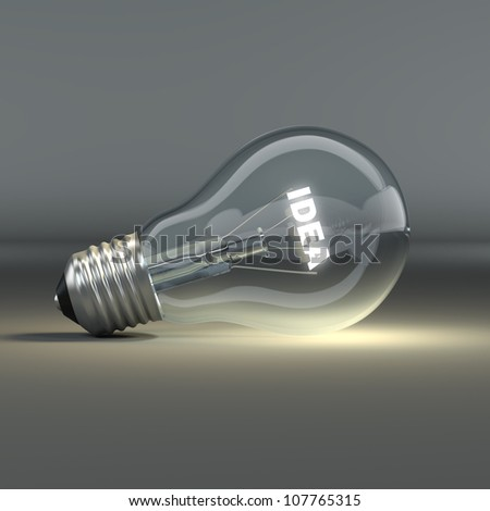 Light bulb with glowing text idea. 3d