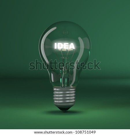 Light bulb with glowing text idea. 3d - stock photo
