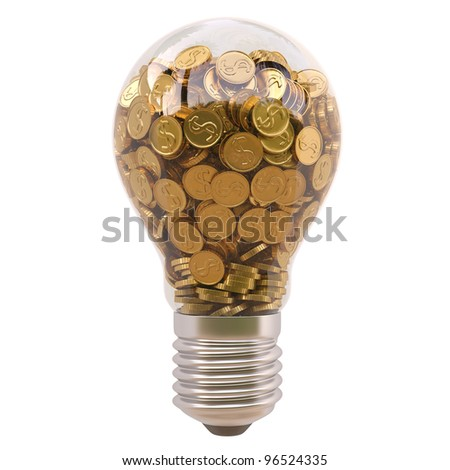 light bulb with gold coins inside isolated on white background - stock photo