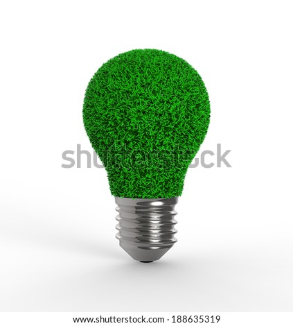 light bulb with grass on white background - stock photo
