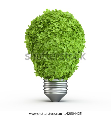 Light bulb with green grass. Isolated on white background. - stock photo