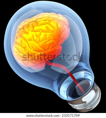 Light bulb with hot brain inside - stock photo