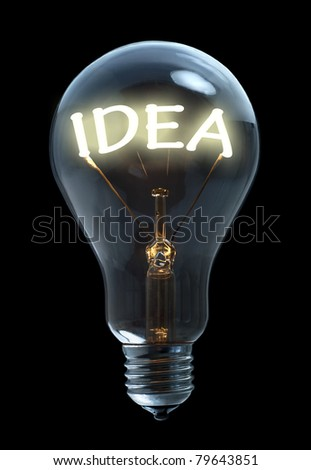 Light bulb with idea text - stock photo