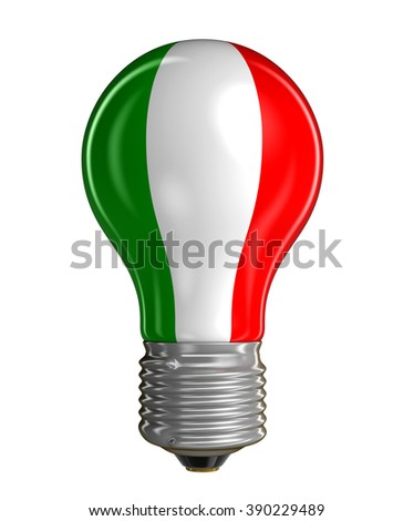 Light bulb with Italian flag.  Image with clipping path - stock photo