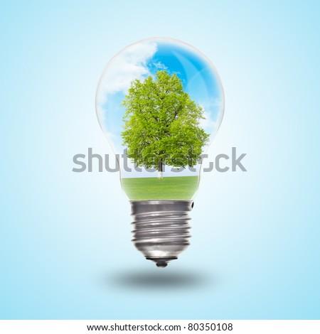 Light bulb with landscape inside. Environmental concept Renewable Energy - stock photo