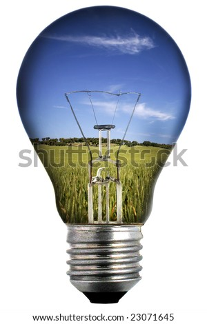 light bulb with landscape inside isolated on white - environmental concept - stock photo