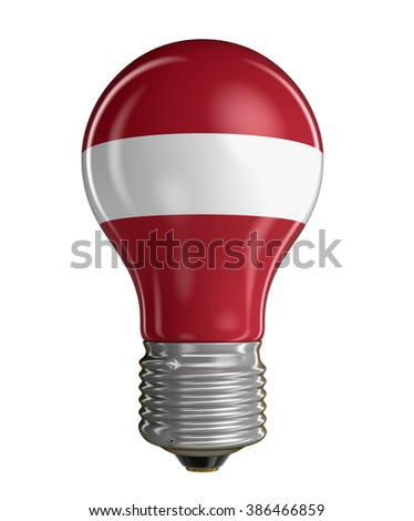 Light bulb with Latvian flag.  Image with clipping path - stock photo