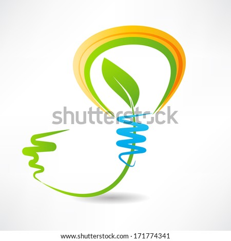 light bulb with leaf inside. design element icon - stock photo