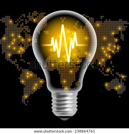 Light bulb with line chart on black back background with world map. Modern design template. Global business concept - stock photo