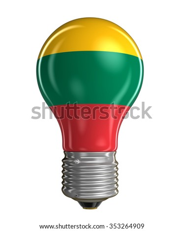 Light bulb with Lithuanian flag.  Image with clipping path - stock photo