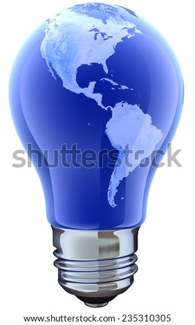 Light bulb with map. America   Source of the map - http://earthobservatory.nasa.gov/Newsroom/BlueMarble/BlueMarble_monthlies.html  - stock photo