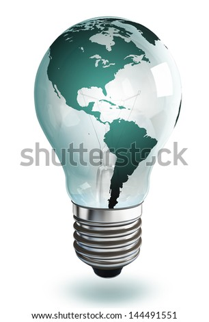 light bulb with north and south america . clipping path included - stock photo