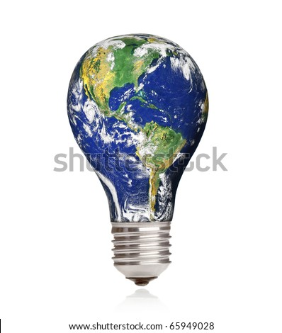 Light bulb with planet Earth isolated on white background - stock photo