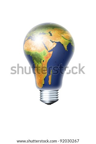 light bulb with planet earth isolated over white background