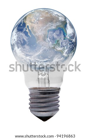 light bulb with planet earth on white - stock photo