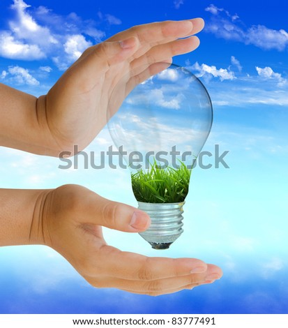 light bulb with protect nature on blue sky day