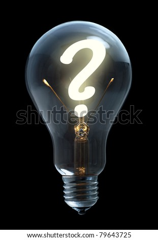 Light bulb with question sign on black background - stock photo