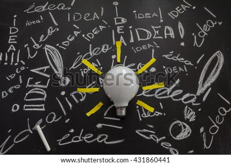 Light bulb with rays made from yellow stickers on the black chalkboard with titles idea! written by white chalk, light bulb idea , business idea , business concept ,Innovation concept - stock photo