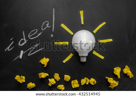 Light bulb with rays on the black chalkboard with title idea! written by white  chalk and crumpled yellow papers, light bulb idea , business idea , business concept ,Innovation concept - stock photo