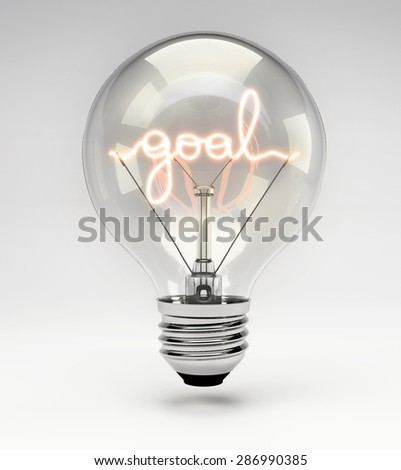 Light Bulb with Realistic Fluorescent Filament - Goal Concept (Set) - stock photo