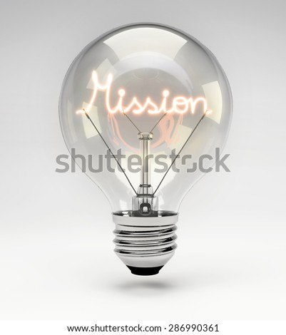 Light Bulb with Realistic Fluorescent Filament - Mission Concept (Set) - stock photo