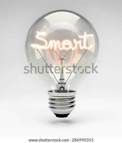 Light Bulb with Realistic Fluorescent Filament - Smart Concept (Set) - stock photo