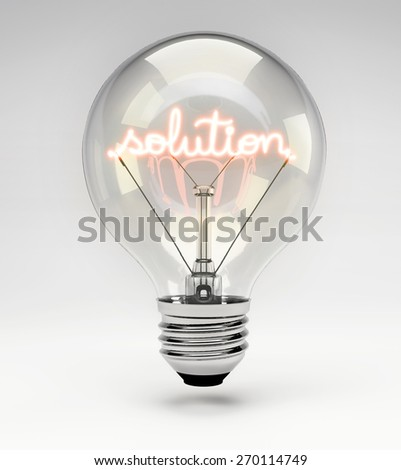 Light Bulb with Realistic Fluorescent Filament - Solution Concept (Set) - stock photo