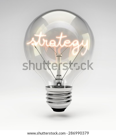 Light Bulb with Realistic Fluorescent Filament - Strategy Concept (Set) - stock photo