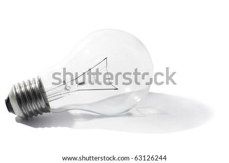 light bulb with shadow on the floor - stock photo