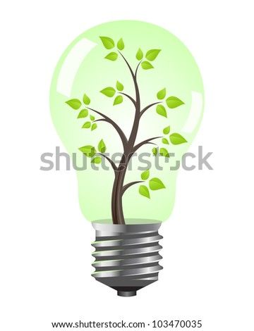 Light bulb with tree inside.