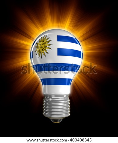 Light bulb with Uruguayan flag.  Image with clipping path - stock photo