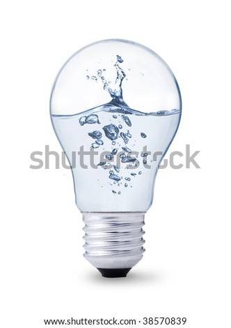 light bulb with water inside - stock photo
